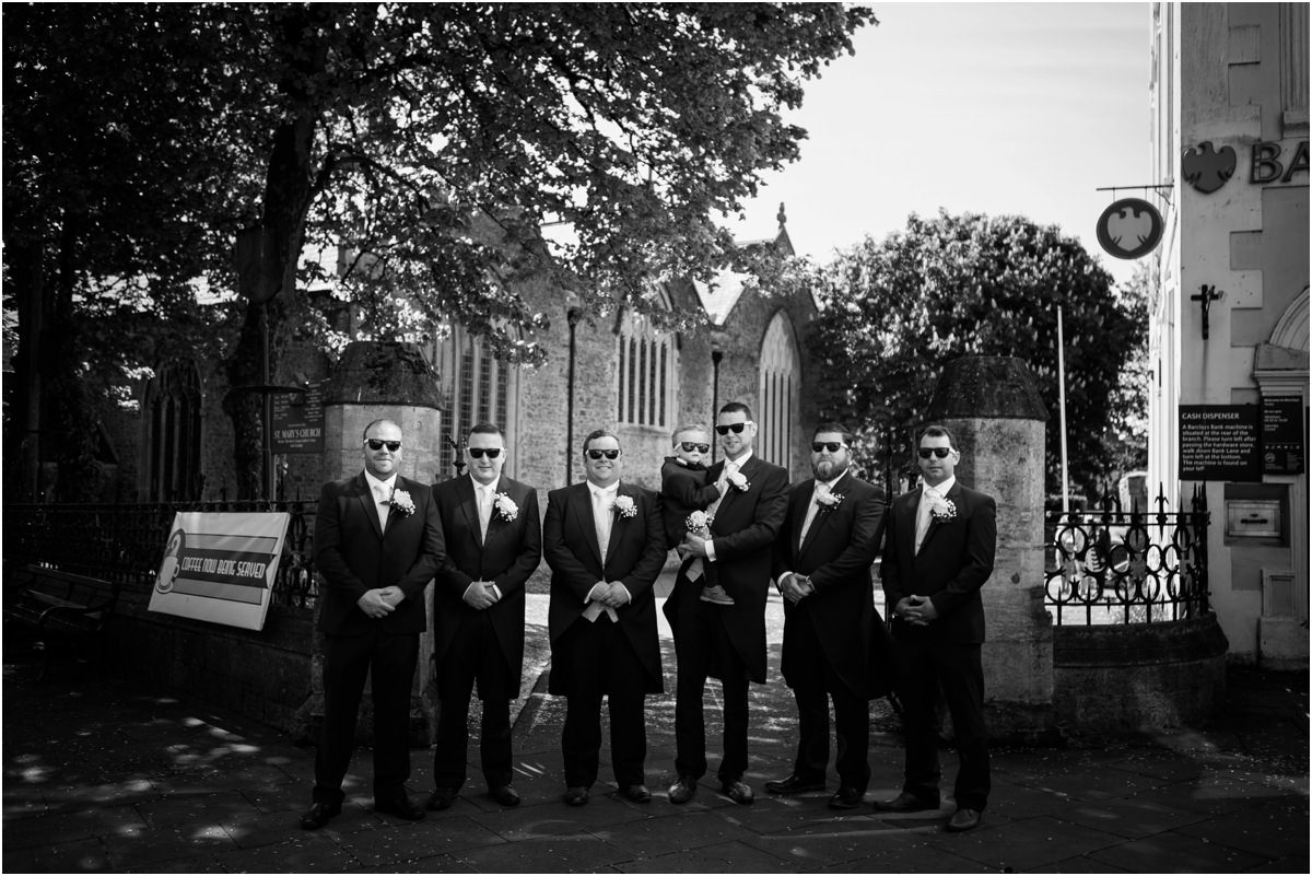 groomsmen outside Tenby church