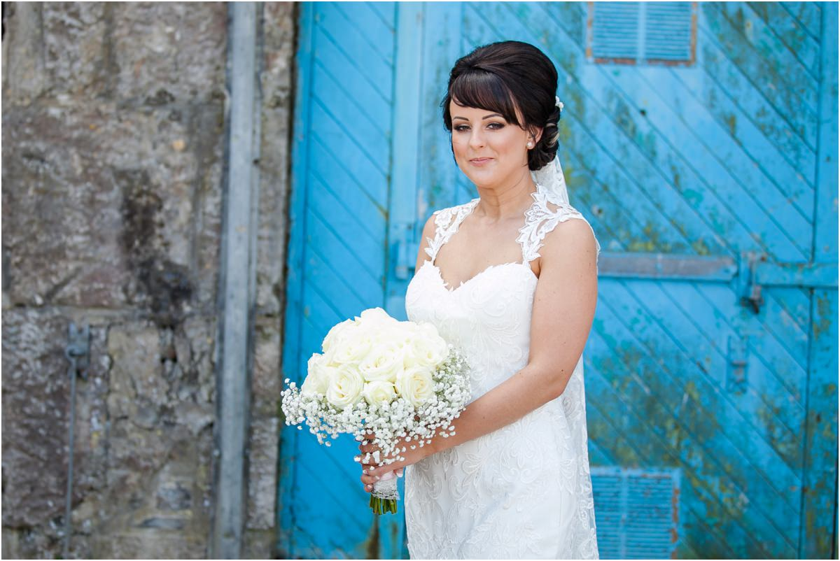 portrait of bride at Tenby Harbour