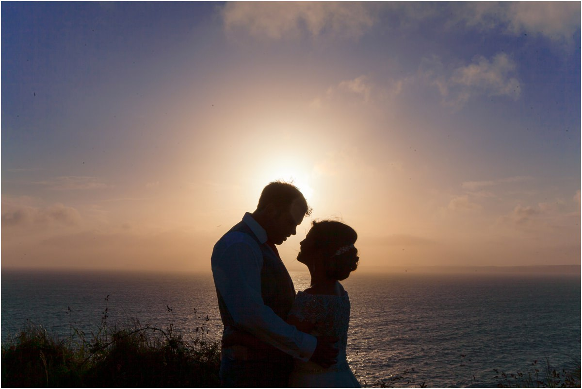 Beach wedding photography at Druidstone Hotel