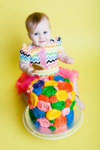 Swansea cake smash photographer - with a rainbow cake