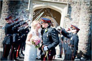 Military wedding with confetti