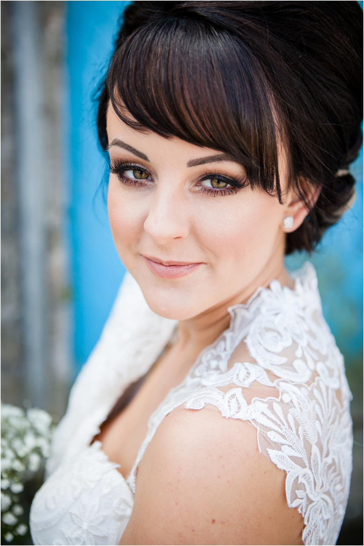 Close up of Bride at Tenby Harbour