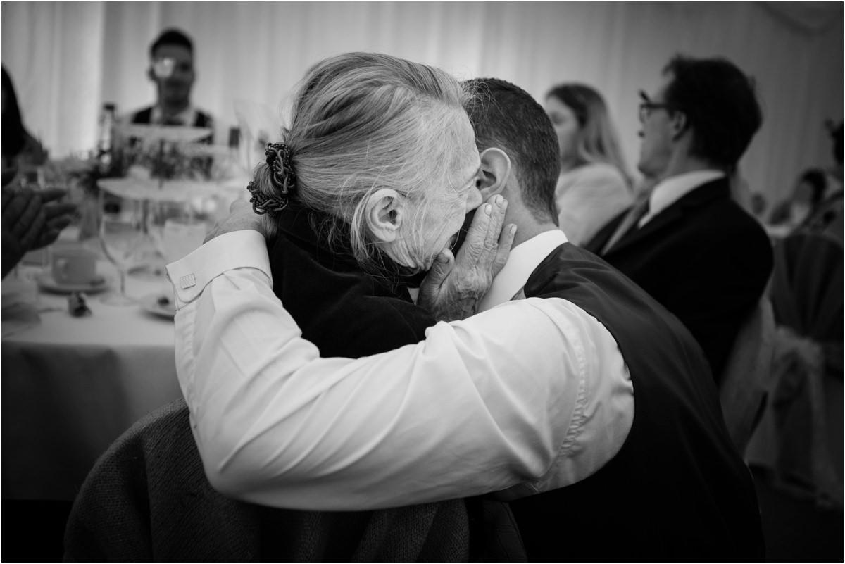 emotional moment between groom and Groom's Nan