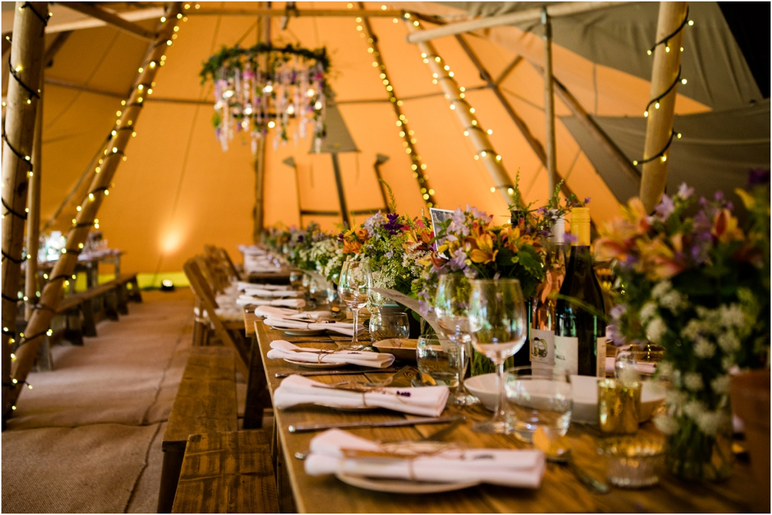 summer tipi wedding decor