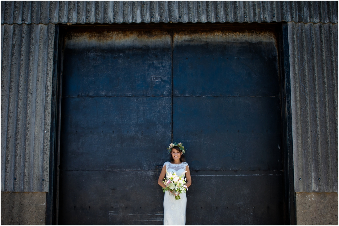 image of bride outside steel doors