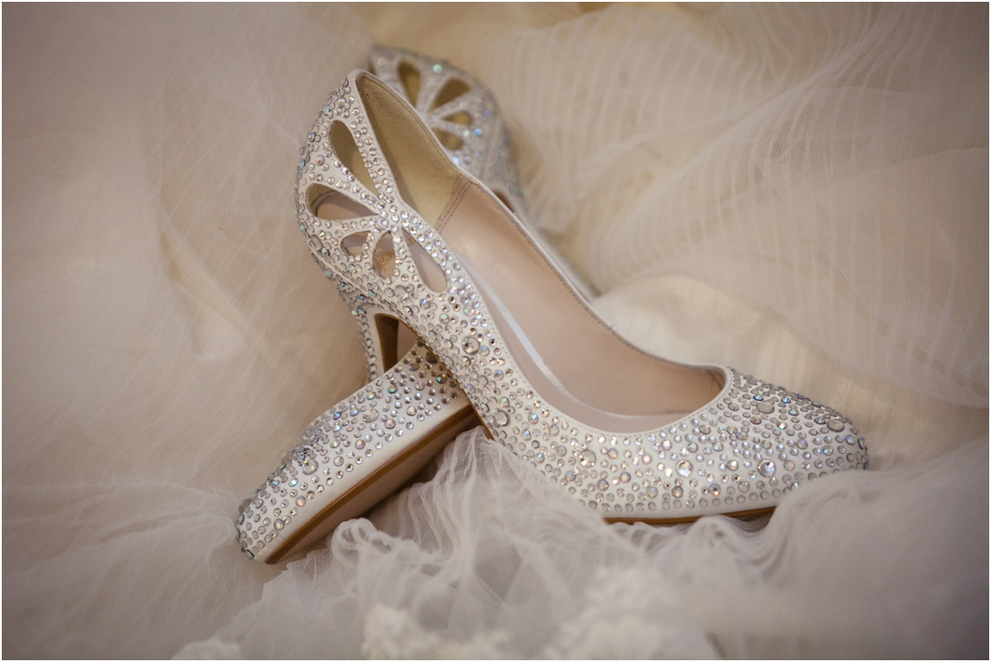 gina wedding shoes on veil
