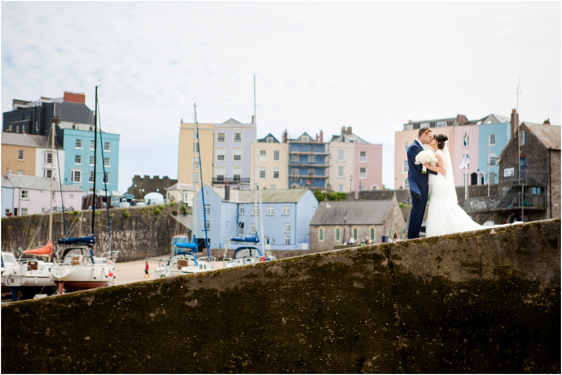 bride and groom at tenby harbour